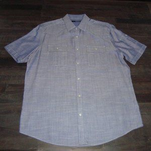 MENS MURANO PEARL SNAP BUTTON DOWN SHIRT LARGE